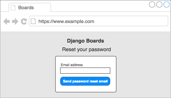 Wireframe password reset page